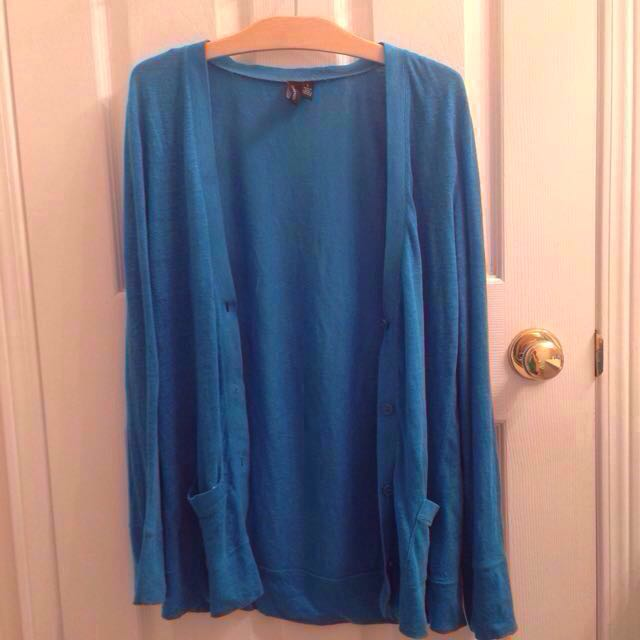CYNTHIA ROWLEY Blue Button-up Cardigan/Sweater