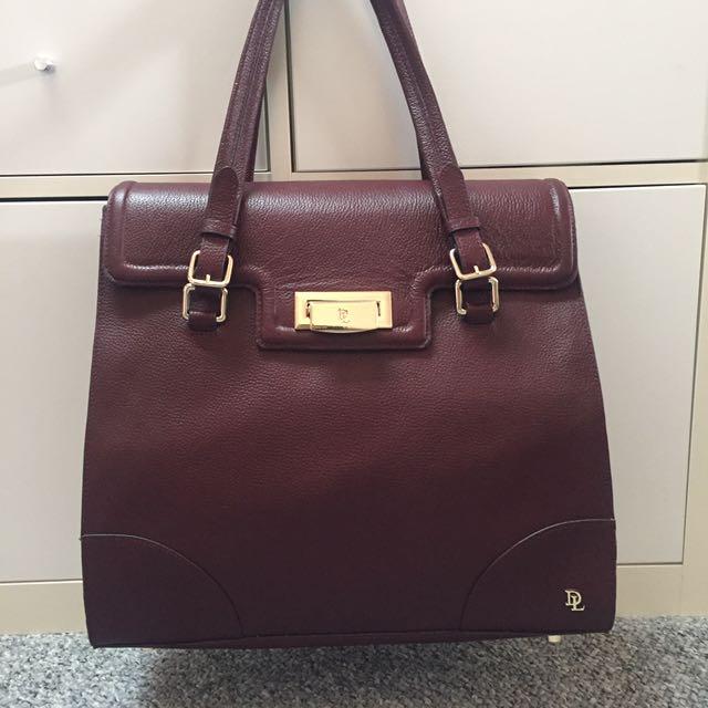 David Lawrence Maroon Leather Handbag