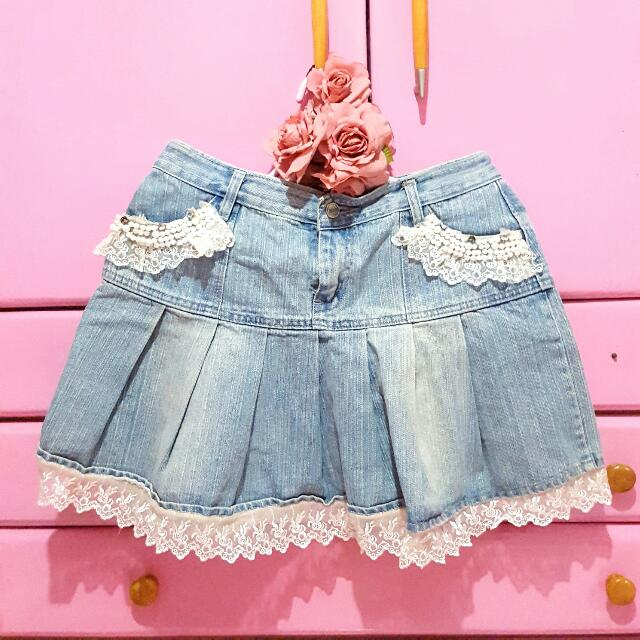 Denim x Lace Skirt