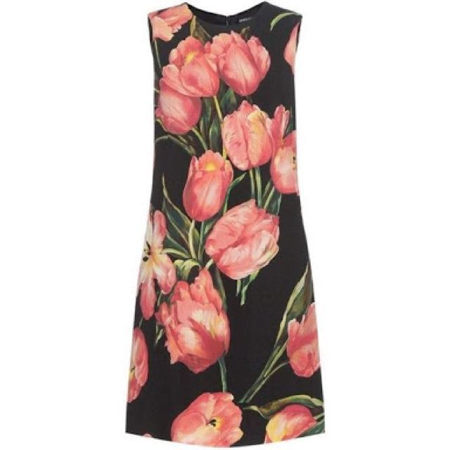 Dolce and Gabana Inspired Printed Wool Crepe Dress