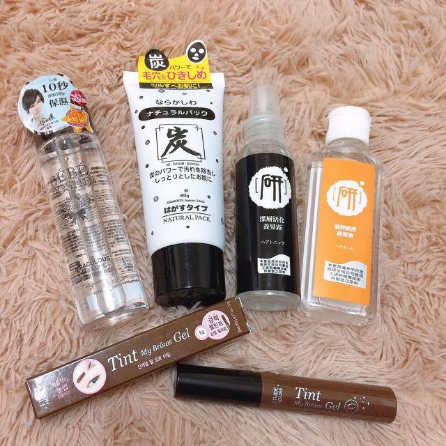 玻尿酸眼唇卸妝液、大創碳面膜、深層活化養髮露、精萃潤澤護髮油、etude house 染眉膠