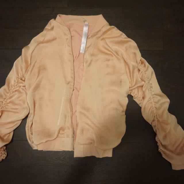 Free People Satin Light Pink Bomber Ruffle Jacket Size Small