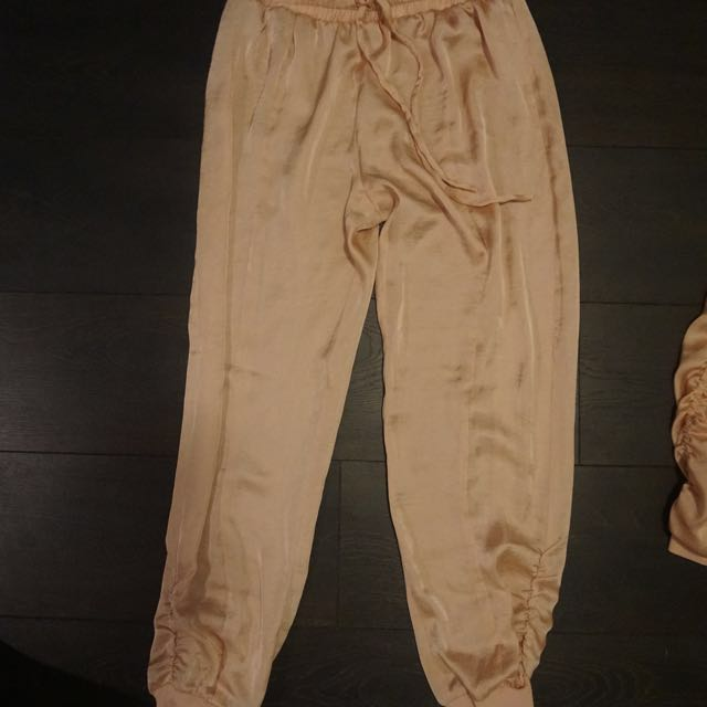 Free People Satin Pink Joggers Size Small