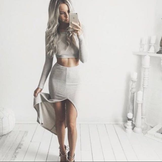 Grey Ribbed Maxi Set