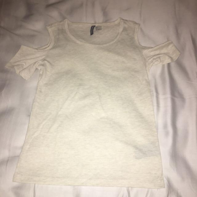 H&M open shoulder cream shirt