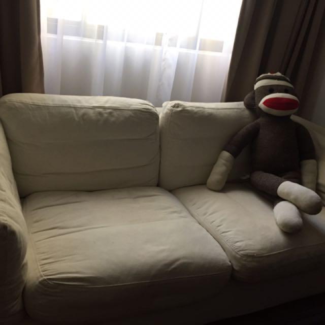 John Erdos 3 Seater Fabric White Sofa
