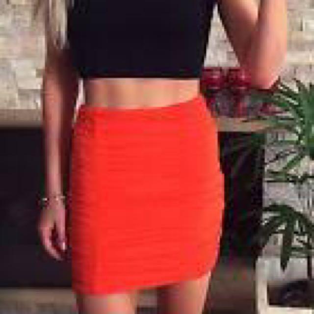 Kookai Bandage Mini Skirt Orange