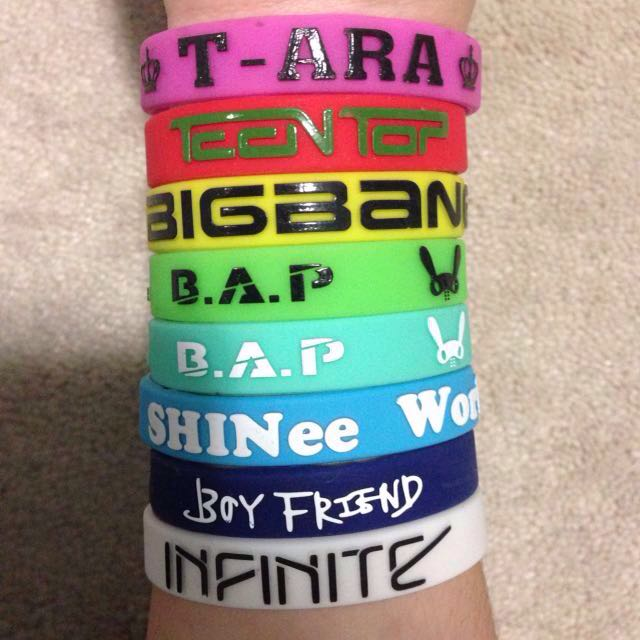 Kpop wristbands/rubber bracelets merchandise BIGBANG B.A.P SHINee Infinite Teen Top Boyfriend T-ARA