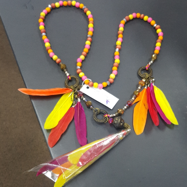 long beads with feathers necklace