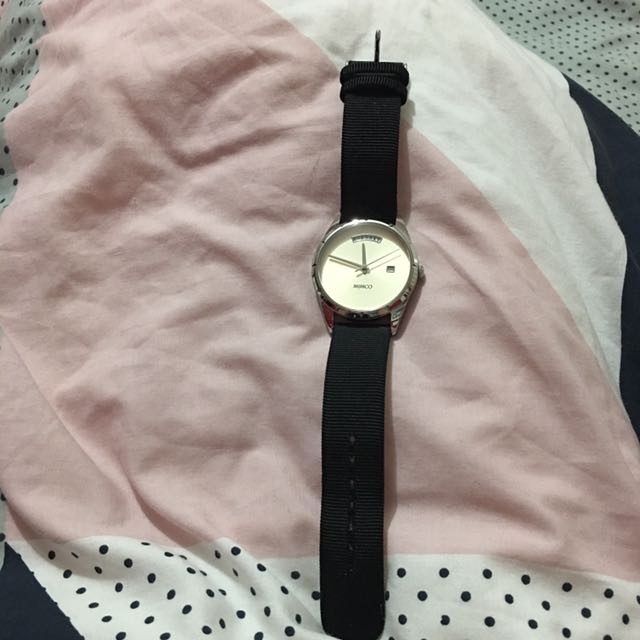 Mimco Watch With Material/leather Band
