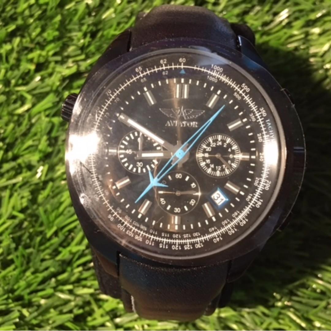 NEW Men's Chronograph Tachymeter Quartz G66 Analog Watch with Black Strap