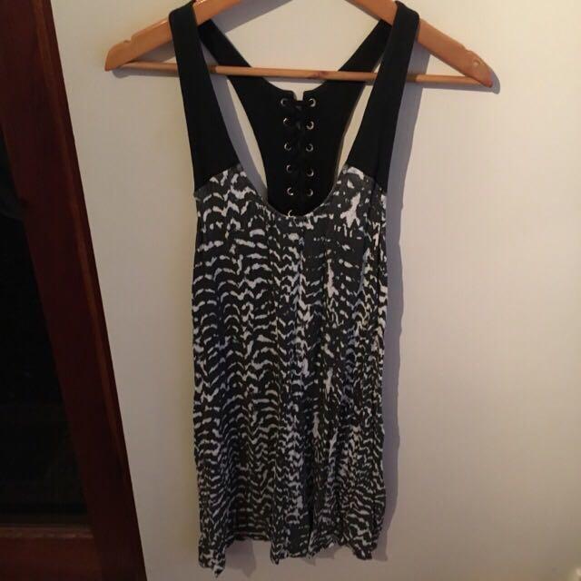 Party Dress Zebra Print Lace Up Back Size 10