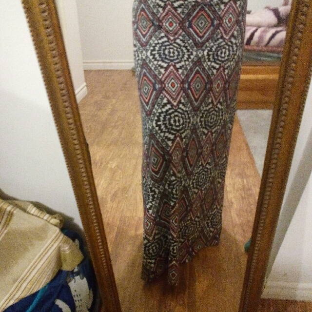 Patterned skirt.