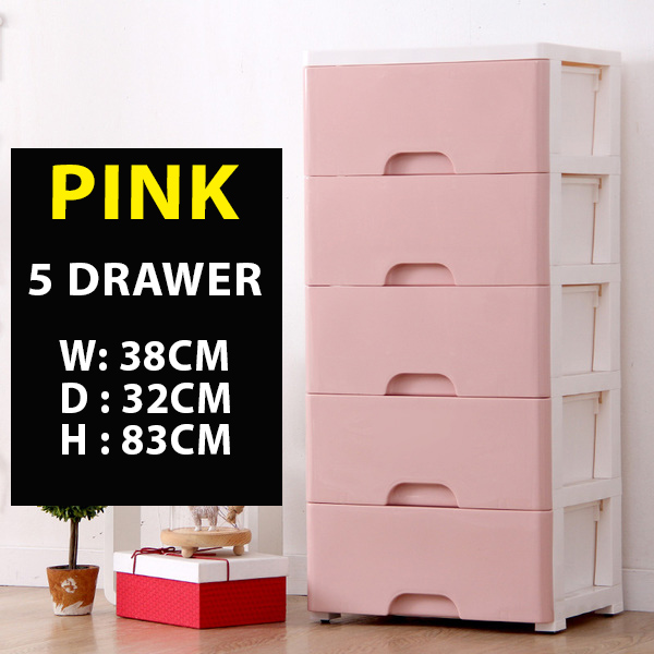 PINK 5 Layer Plastic Drawer Cabinet, Furniture, Shelves U0026 Drawers On  Carousell