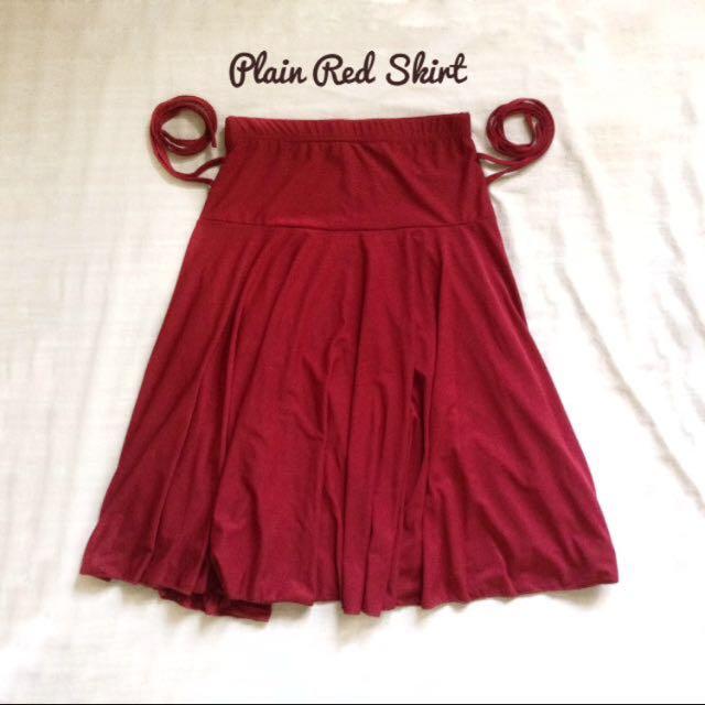 Plain red skirt