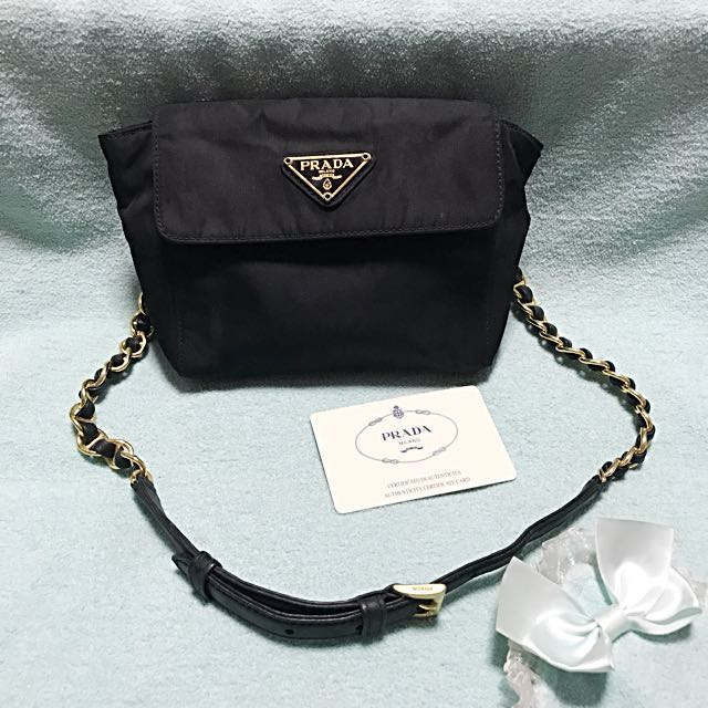 79e2f725b7 ... ireland prada nylon belt bag with gold metal and leather chain strap  luxury aed48 ab38a