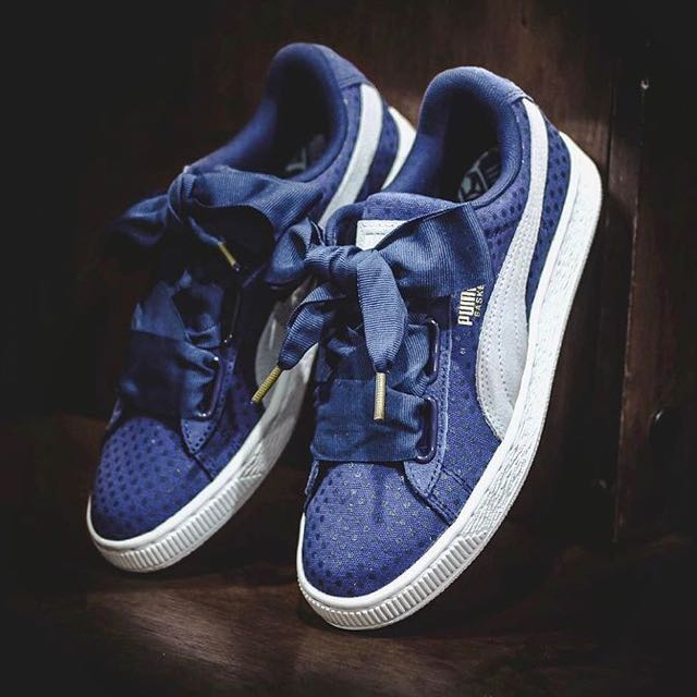 brand new ae7a6 82bae Puma Basket Heart Denim by Cara Delevingne