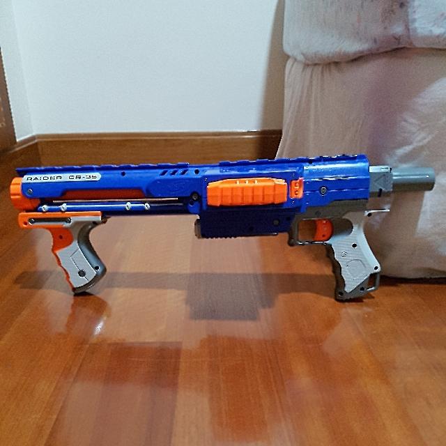 NERF Raider CS-35 Blue N-Strike Dart Gun Blaster Ammo Drum Tommy Shoulder