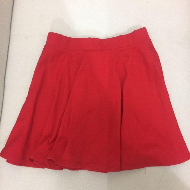 Red Mini Skater Skirt