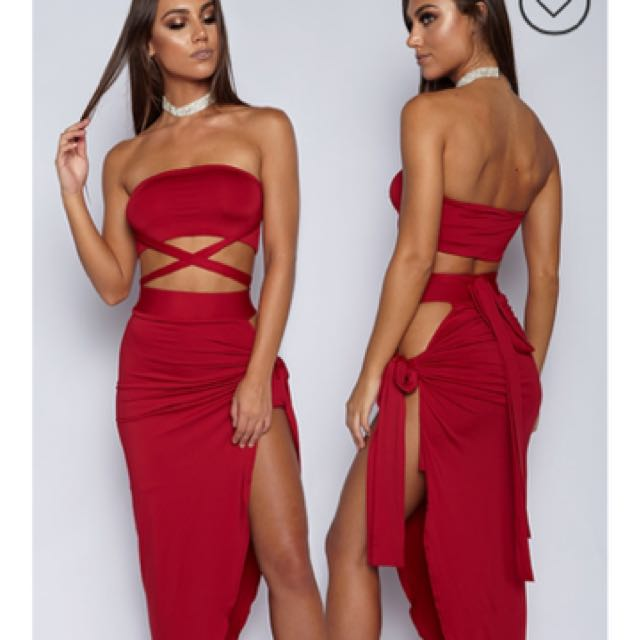 Red wrap dress set