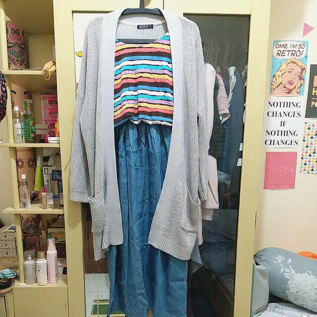 [REPRICE!!!] Colorful Summer Denim Maxi Dress