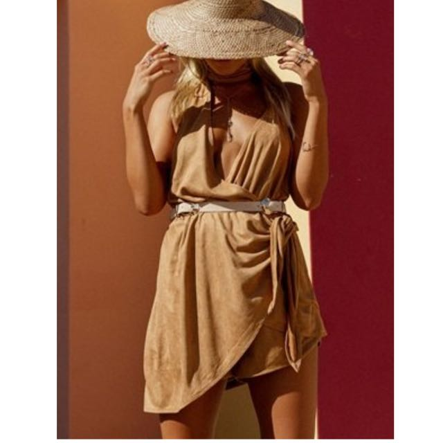 Saboskirt - CAMEL SUEDE PLAYSUIT *brand new