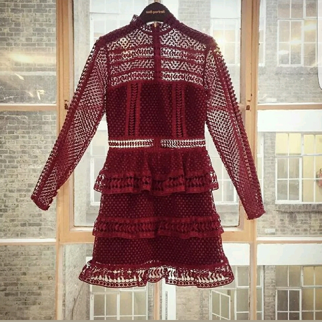 Self Portrait High Neck Lace Panelled Dress Maroon
