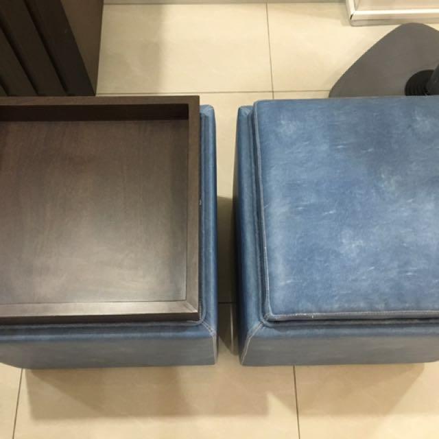 Storage tray ottoman