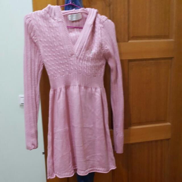 連帽v領長版針織上衣粉色全新F均碼可換物