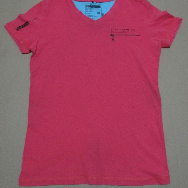 vivid red shirt
