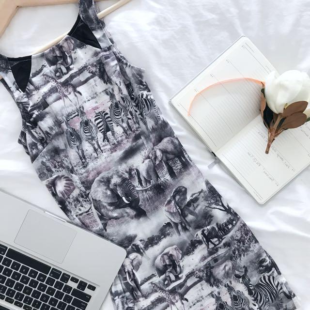 Wildlife Print Mini Bodycon Dress