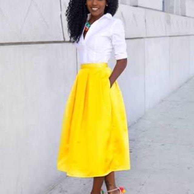 WTB yellow Midi Skirt