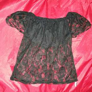 Refined black off shoulder (see through)