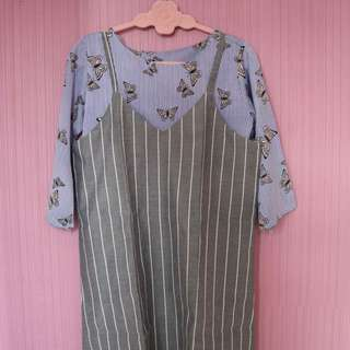 Stripes Overall Dress