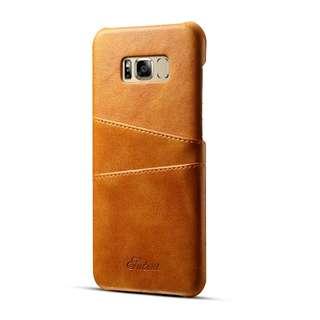 Samsung Galaxy S8/S8+ 真皮手機連卡套 (啡色)