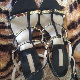 MK black sandals