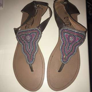 women's beaded brown leather slingback thong sandals