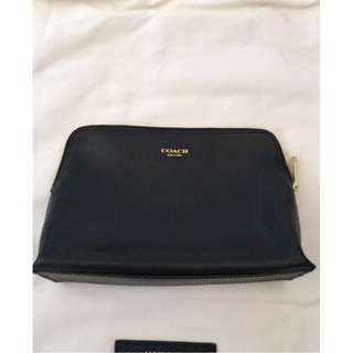 Coach Black Leather Cosmetic Bag