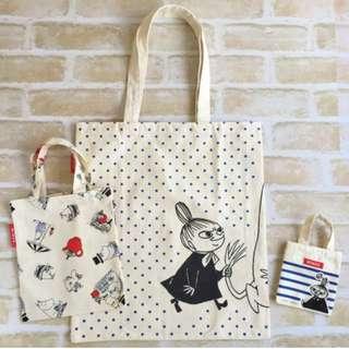 日本雜誌 自然風 附贈 MOOMIN × NIMES 海軍風大小 托特包 3件組 單肩包 手提袋 購物袋 嚕嚕米 姆明