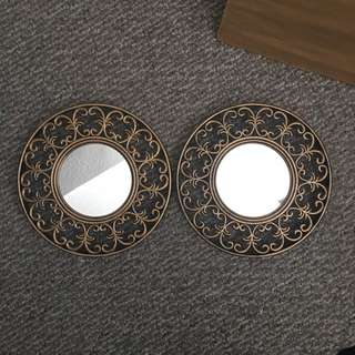 Two gold frames mirrors