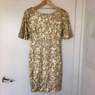 Ark &Co Size Small Gold Sequence Dress