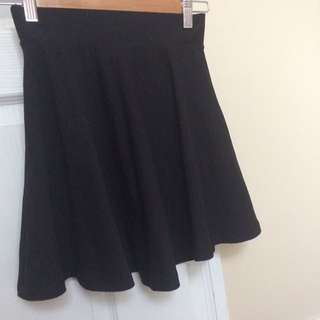 Elastic waist black skirt simple H&M