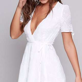 Beginning Boutique white lace wrap dress