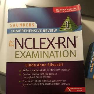 NCLEX Saunders review textbook and Barron flashcards