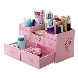 木制 耐用 化妝品收納盒 化妝盒 粉紅色 防水