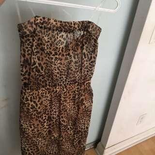 Cheetah Print Sheer Strapless Dress