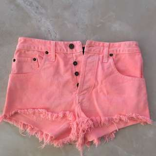 'Bardot' salmon-pink high-waisted shorts (size 8)
