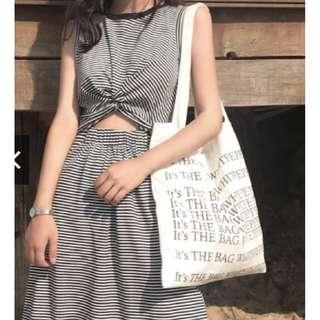 修身設計感條紋印花連衣裙/中長裙