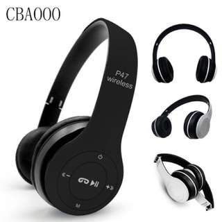 Wireless Bluetooth headset. Supports call, fm, SD card, Bluetooth, aux & other features.