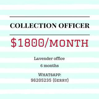 Collection Officer | $1800/month | 6 months